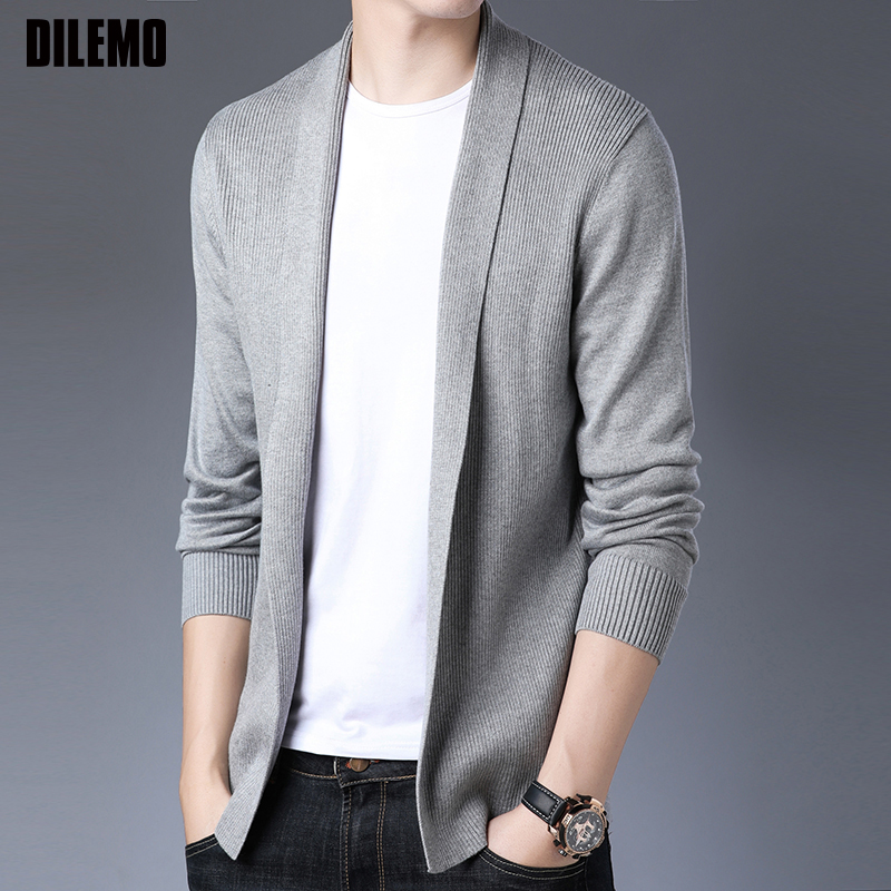 2020 New Fashion Brand Sweater For Mens Cardigan Coat Slim Fit Jumpers Knitred Woolen Autumn Korean Style Casual Men Clothes