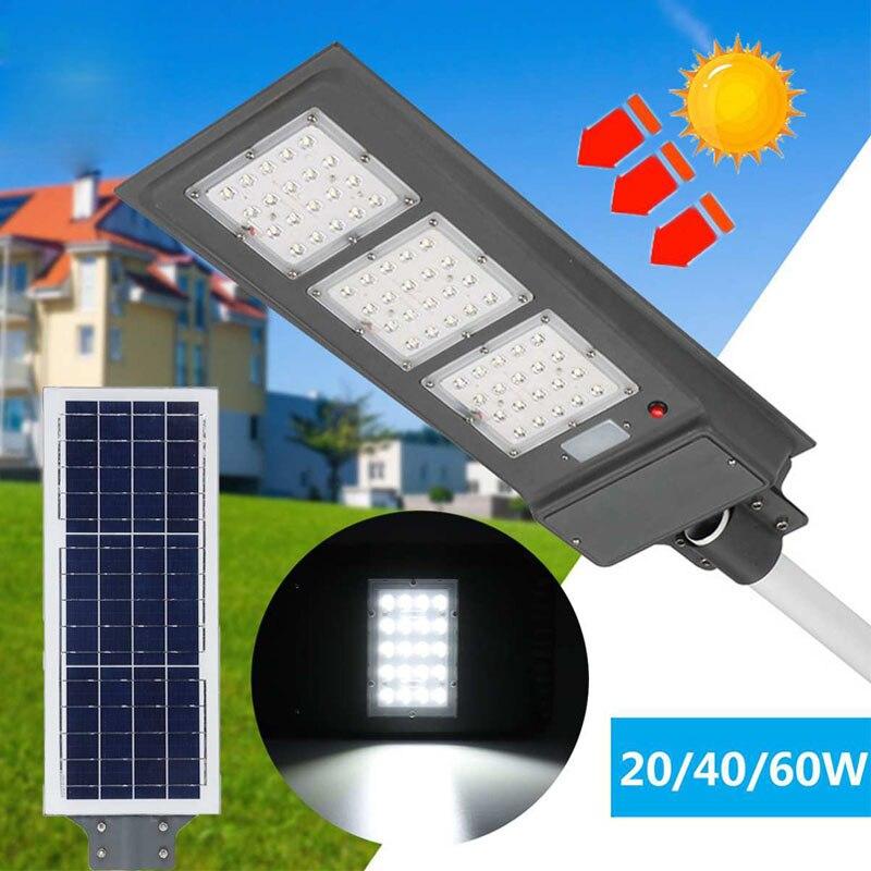 5pcs Solar Street Light 20/40/60W Light Control Radar Sensor Lamp IP65 Solar Wall Light Security Lamp With Pole