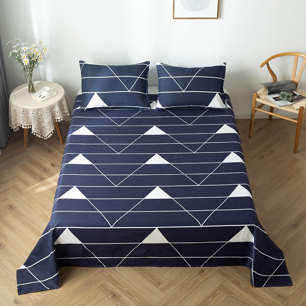 3pcs/set Beds Sheet And Pillowcase Geometric Printing Bedding Sets Tree Leaves Clouds Bedclothes Single Flat Sheet Bedclothes