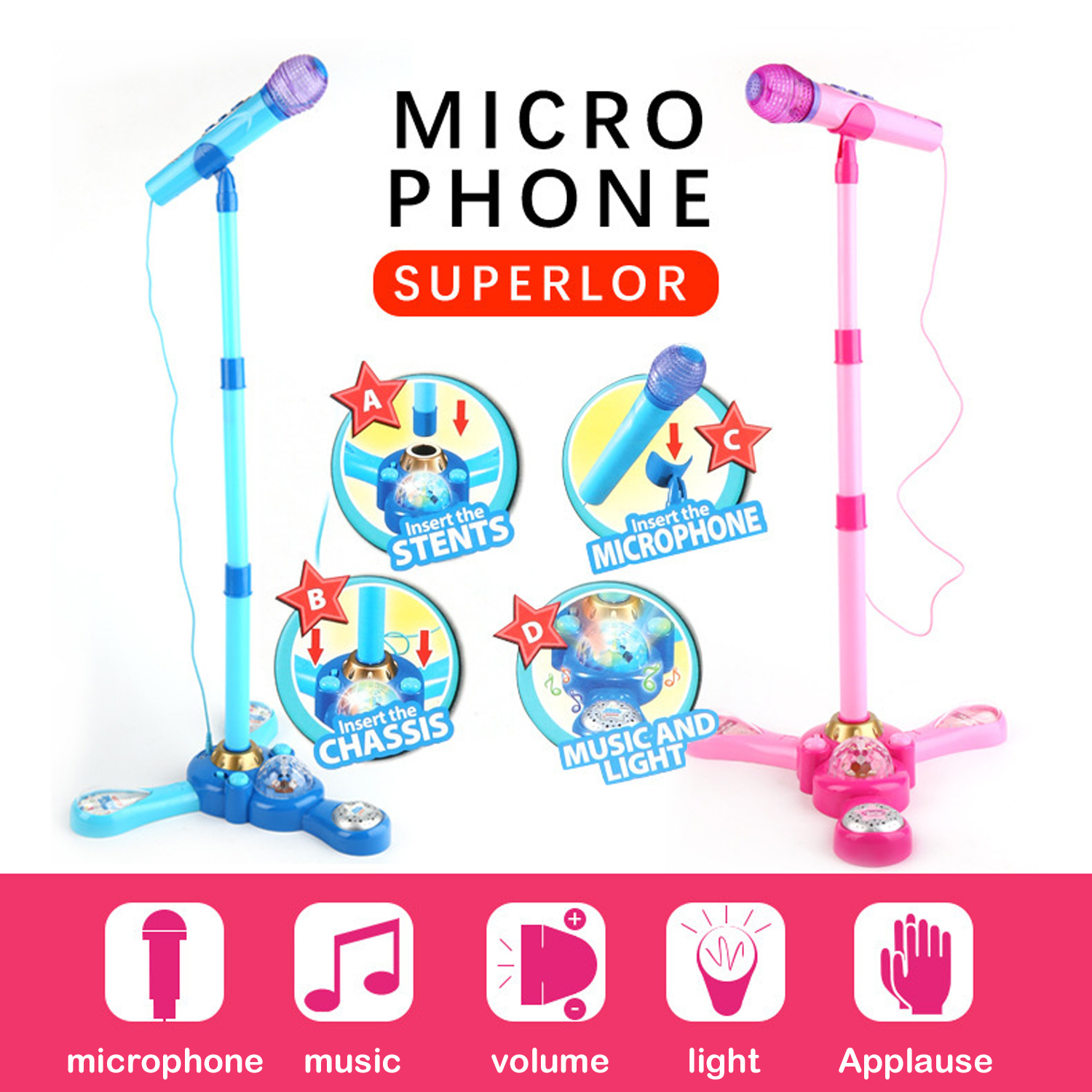Microphone Music Toy Kids Karaoke Machine Toy with Adjustable Stand and Bright Colorful Light Effect for Boy Girl Children Gifts