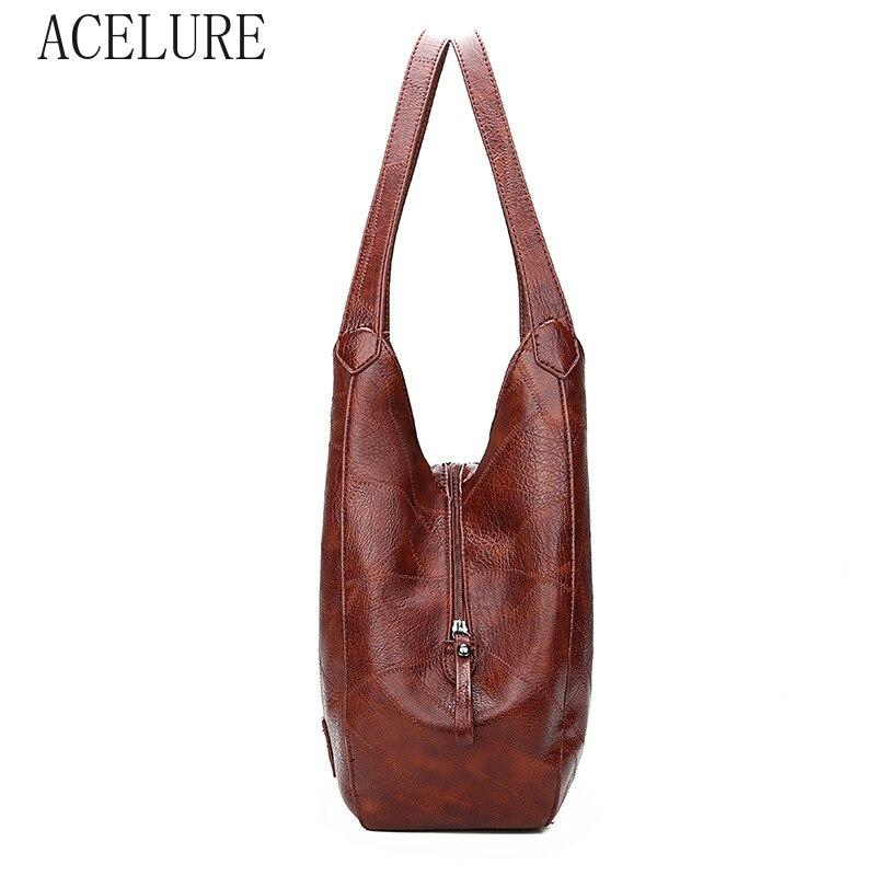 ACELURE  High Capcaity Soft PU Leather Vintage Women Hand Bag Totes Designers Luxury Women Shoulder Bags Female Top-handle Bags 3