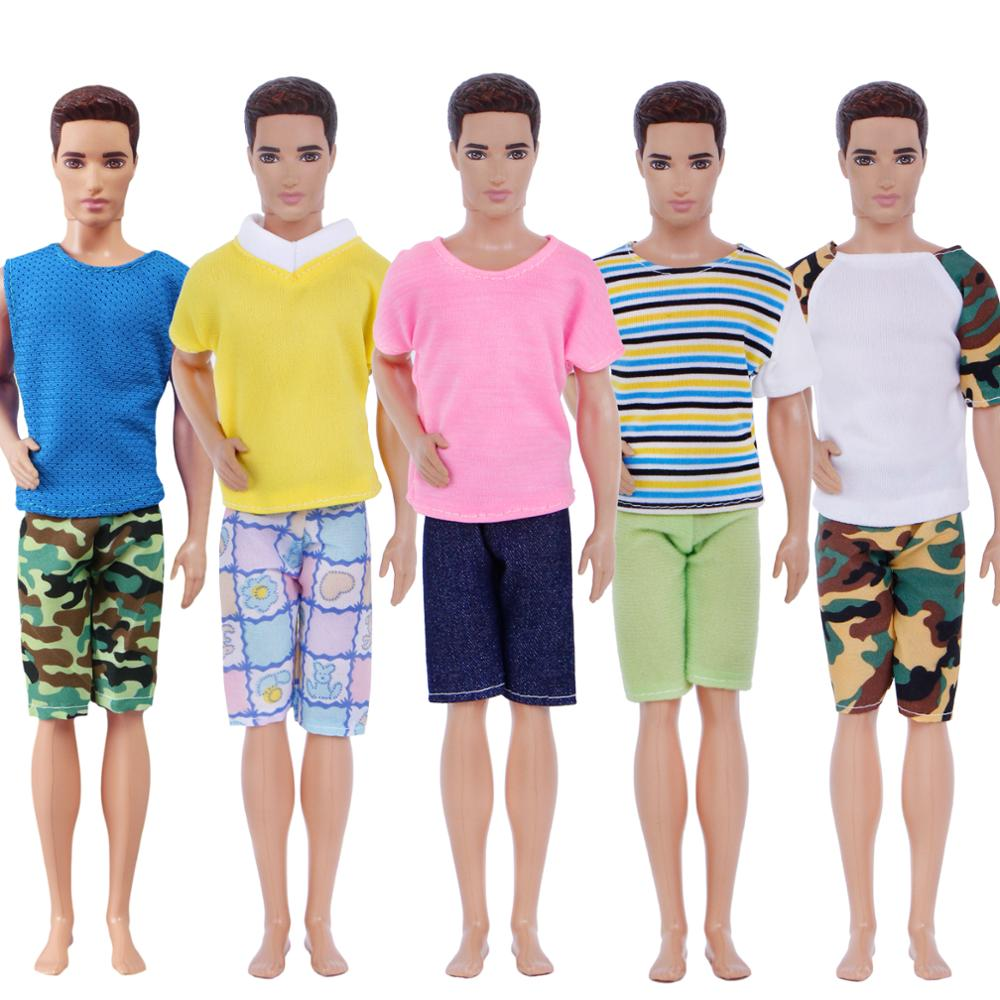 Handmade 5 Pcs Men Outfits Mixed Style Stripe Camouflage T-Shirt Vest Plaid Shorts Pants Clothes For Ken Doll Accessories