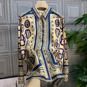 Francuski styl damski modny nadruk elegancka koszula topy 2020 wiosna jesień wysokiej jakości długie rękawy koszule B961