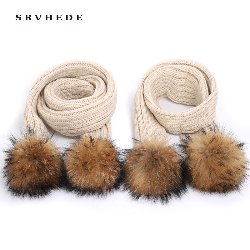 Mother Kids Scarf  Winter Scarf For Women 100% Natural Fur   Real Fur  Scarf  Long And Warm Fur Scarf  Fur Pom Pom Scarf