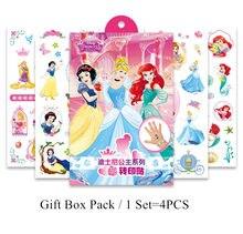 Disney crianças tatuagem temporária adesivos de brinquedo princesa arte do corpo à prova dwaterproof água tatuagem adesivos com caixa de presente