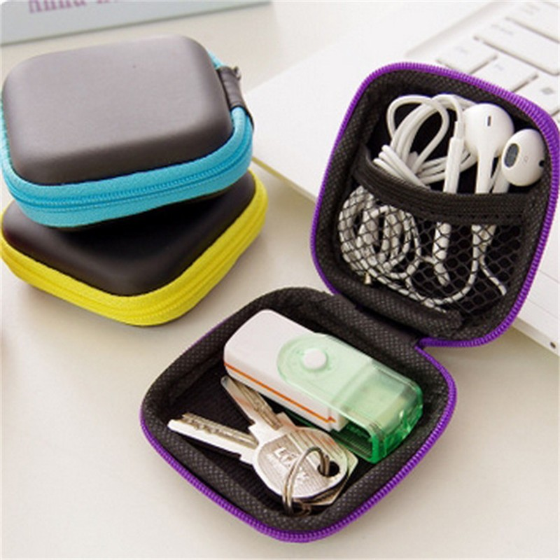 Portable Mini Electronic Bag Zipper Headphones Box In-ear Earphone Cases EVA Square Earbuds Headset Carry Digital Bag