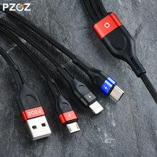 Pzoz 3 em 1 cabo usb micro usb c adaptador de carregamento rápido microusb tipo-c carregador tipo c cabo para iphone 7 11 samsung xiaomi cabo