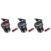 Zestaw samochodowy ładowarka USB dwa porty QC 3.0 PD szybkie ładowanie Adapter gniazda z woltomierzem LED + kabel zasilający do pojazdów DC 12V 24V