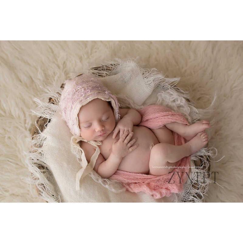 Cesta de Manta con capas de arpillera para accesorios de fotografía recién nacido bebé accesorios de sesión de fotos Flokati fotografía sesión fotográfica