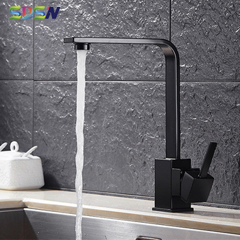 Black Kitchen Faucets SDSN Luxury Solid Brass Kitchen Sink Mixer Tap Quare Black Bronze Kitchen Faucet Hot Cold Kitchen Taps