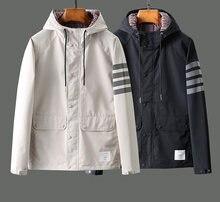 2021 Модная брендовая куртка TB, мужские кардиганы, одежда, осень-зима, светоотражающая полосатая Водонепроницаемая Повседневная куртка с Nood