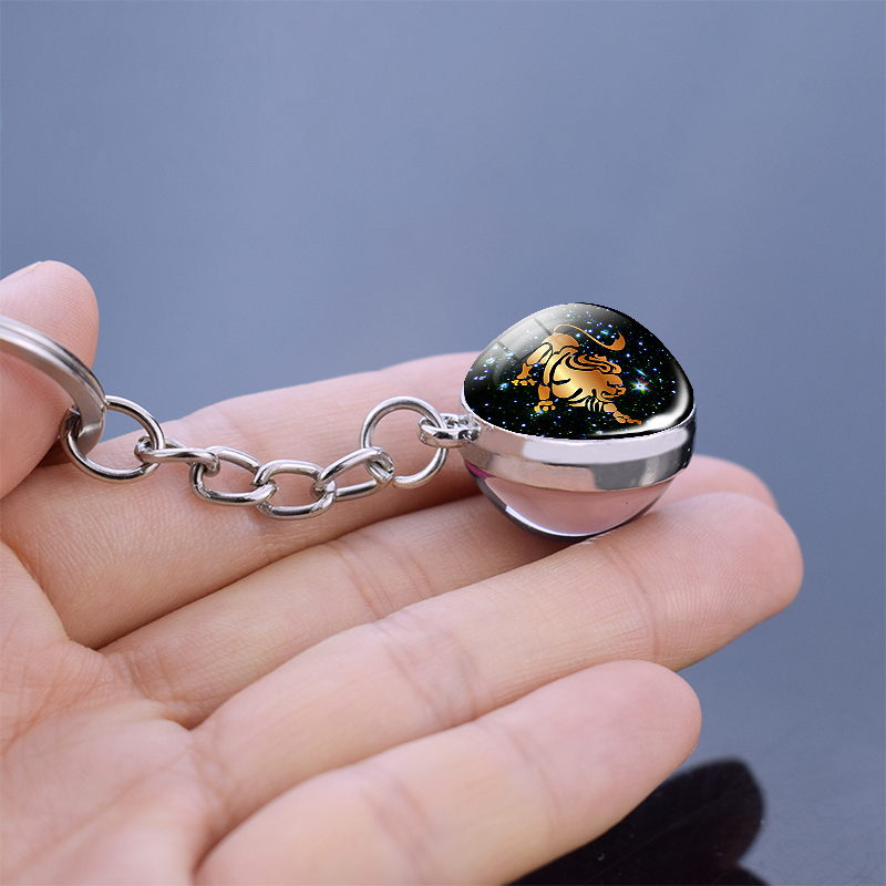 Luminous Zodiac Keychain Keyholder Glow In The Dark Glass Ball Key Chain Trinkets Men Women Birthday Gift 3