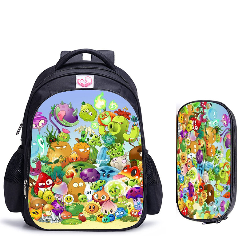 16 Inch Plants VS Zombie Children School Bags Orthopedic Backpack Kids School Boys Girls Mochila Infantil Catoon Bags