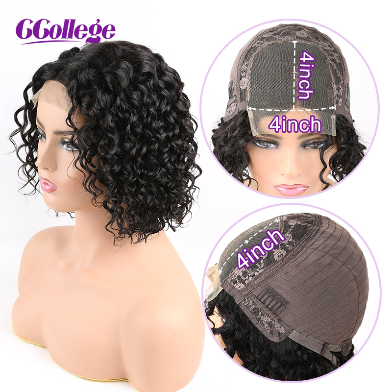 4*4 Lace Closure Water Wave Wigs Middle Part Human Hair Wigs Pre Plucked Hairline With Baby Hair Peruvian Hair Lace Wigs