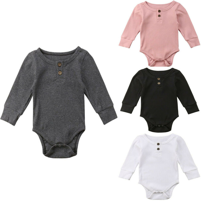 2019 Brand Newborn Toddler Baby Girl Boy Bodysuit Long Sleeve Jumpsuit Ribbed Outfit Sweater Clothes Unisex Bebe Bodysuit Spring