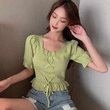 Women Knit Crop Top Fashion Slim-fit Cross Strappy Ruffles T Shirt Short Sleeves Solid Color T-shirt simple design round collar printed short sleeves crop top for women