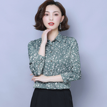 Autumn Korean Fashion Silk Women Blouses Satin Floral Long Sleeve Shirts Plus Size XXXL Femininas Elegante Ladies Tops