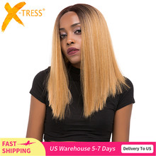 Synthetic Lace Front Hair Wigs Ombre Blonde Black Red Color X TRESS Yaki Straight Shoulder Length Blunt Lace Part Wig For Women