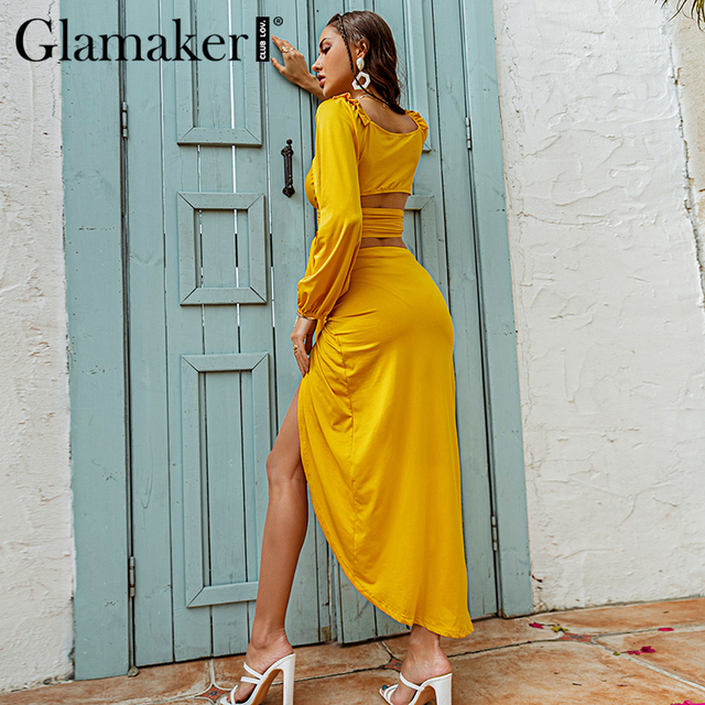 Glamaker Two piece suits Ruffles bandge top and high split sexy skirts Women spring summer yellow sets dress fashion 2021 new 4