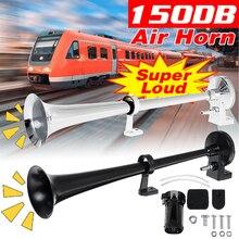 Универсальный супер громкий звуковой сигнал Рог Комплект автомобильный гудок Динамик 12V компрессор для грузовика лодка поезд в байкерском ...