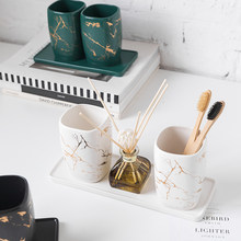 Accessoires de salle de bain nordique, bande de marbre Imitation écologique, brosse à dents en céramique, porte-gobelet, pot, brosse à dent