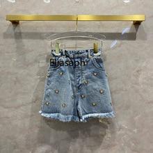 Streetwear Jean Shorts for Women Summer 2021 High-end Brand Embroidery Flower Elastic Waist Jeans Fashion Crystal Denim Shorts