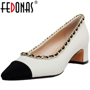FEDONAS Classic Design Women Cow Leather Pointed Toe Party Wedding Casual Pumps Mixed Colors Metal Chain Thick Heel Shoes Woman