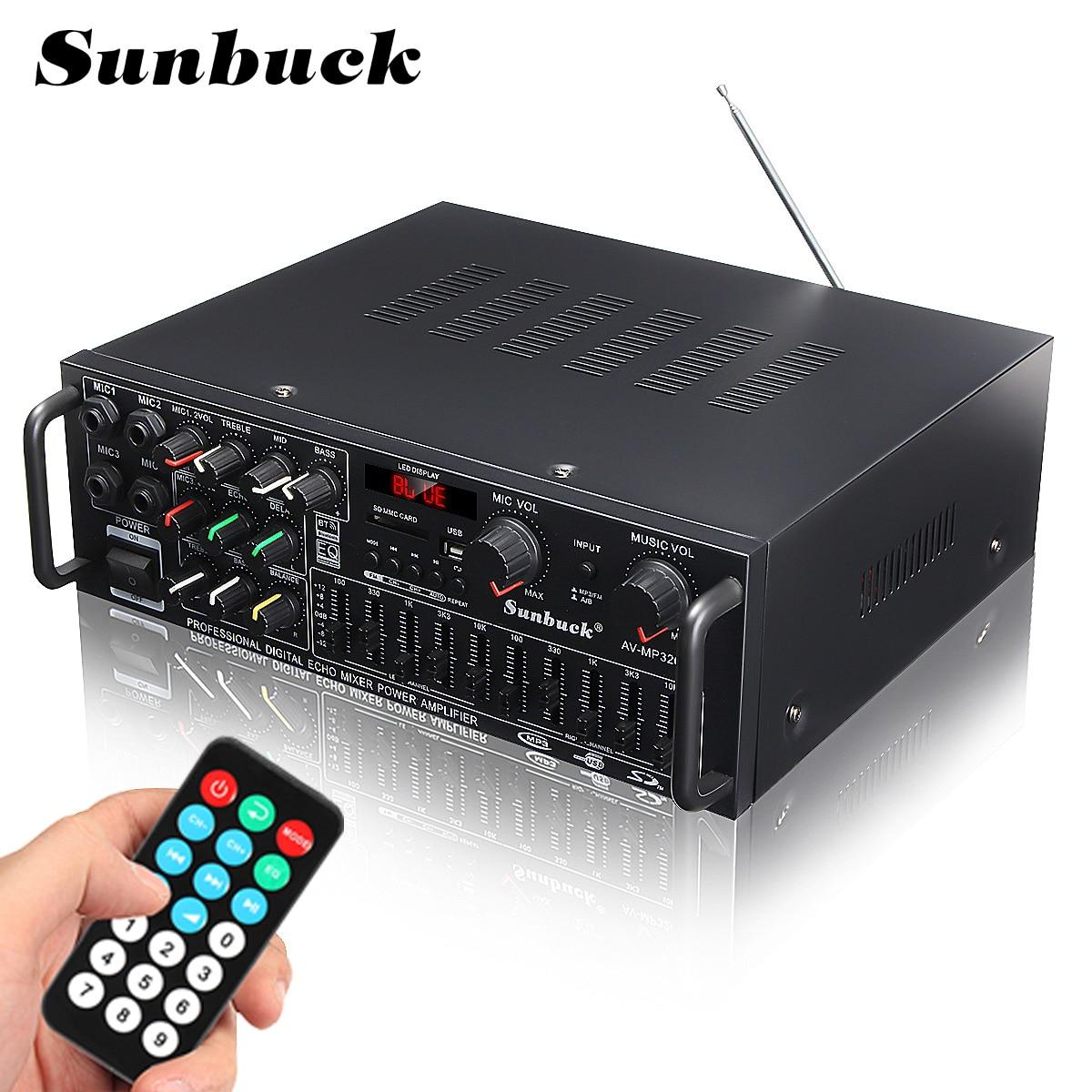 Канал SUNBUCK bluetooth 2000 Вт аудио Мощность HiFi усилитель 326BT 12 В/220 В AV Amp динамик с дистанционным управлением для автомобиля дома