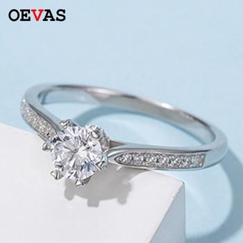 OEVAS 스파클링 0.5 캐럿 D 컬러 Moissanite 약혼 반지 100% 925 스털링 실버 웨딩 파티 파인 쥬얼리 선물