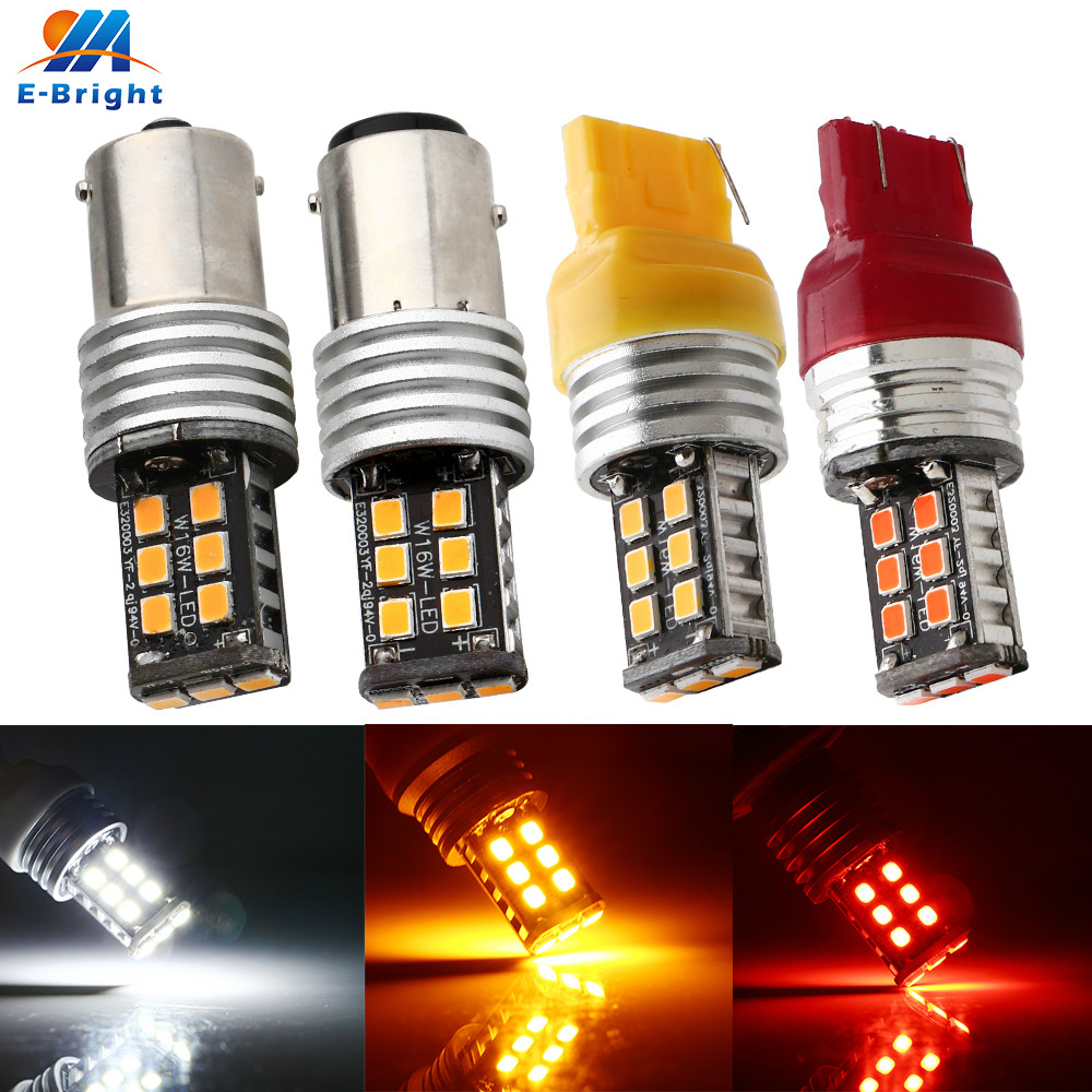 4X Canbus 12V-24V 2835 15SMD <font><b>P21W</b></font> 1156 1157 7440 7443 <font><b>Led</b></font> Bulb Backup Tail Indicator Turn Signal Brake Light White Red <font><b>Amber</b></font> image