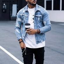 MUYOGRT Fashion Casual Denim Jacket Men Plus size Blue Color Lapel Ripped Jean Jacket 2020 Autumn and Winter New Men% 27s Jacket