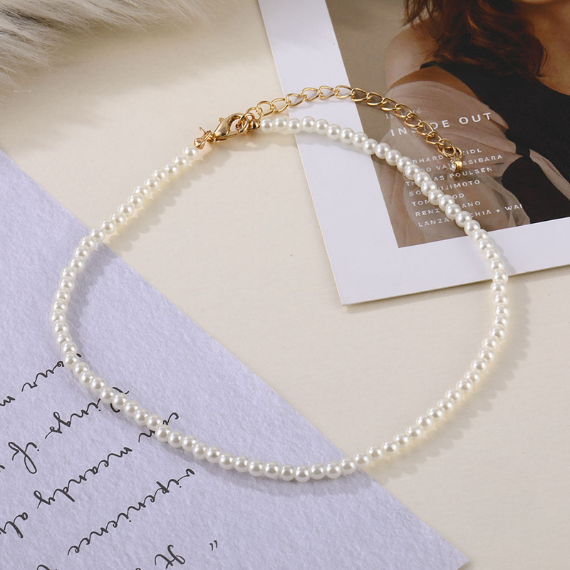DAXI Beaded Choker Pearl Necklace For Women Gold Chain Necklaces Pendant Collar Chokers Chains Bead Necklace Womens Jewelry 2020