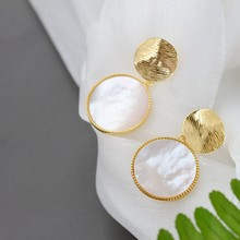 Natural Pearl Shellfish Earring Fashion Gold Plated 925 Sterling Silver Circular Earrings Female Wedding Party Fine Jewelry Gift