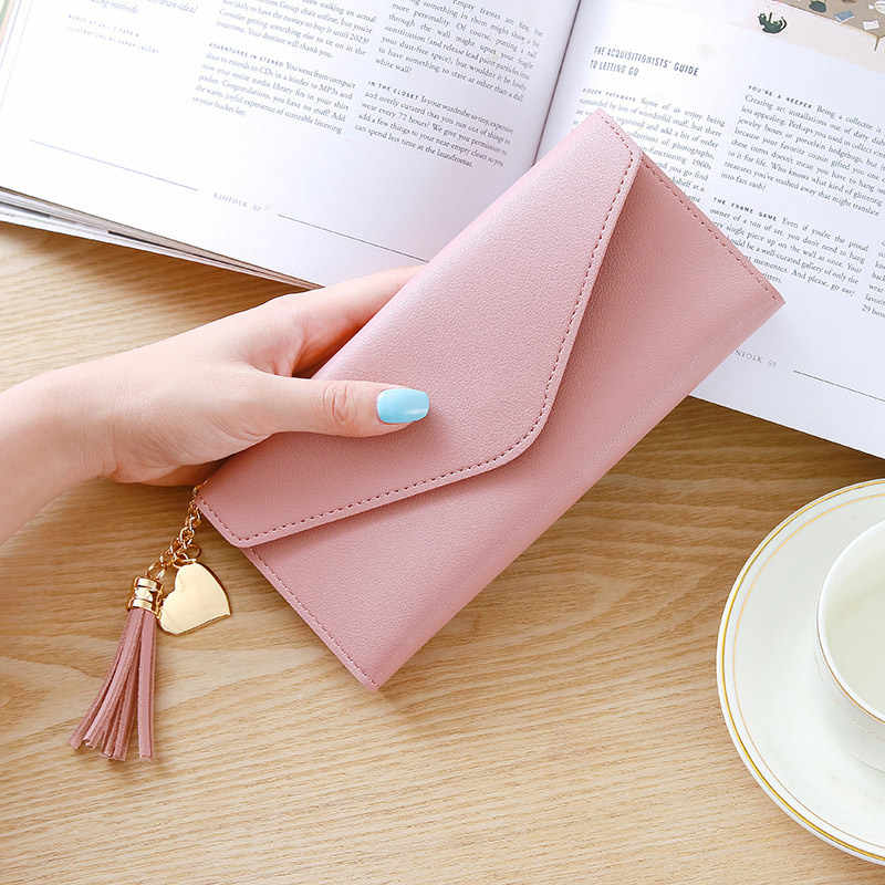 Wanita Kulit Dompet Tipis Panjang Desain Lipat Tiga Kartu Kredit Pemegang Organizer Dompet AIC88