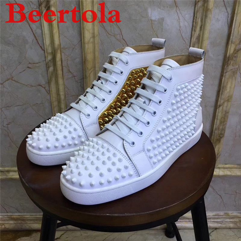 High Top Sneakers Men White Gold Spikes