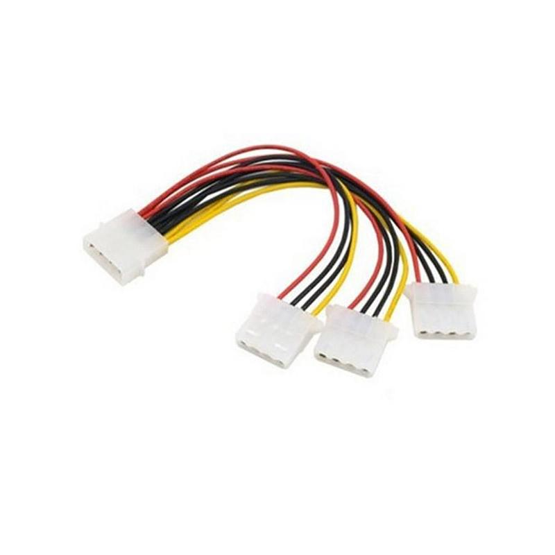 High Quality 22cm 4Pin IDE Power Cables HY1578 4 Pin Cable 3 Male IDE Adapter To Splitter Molex Port Power Female Molex Sup W9P7