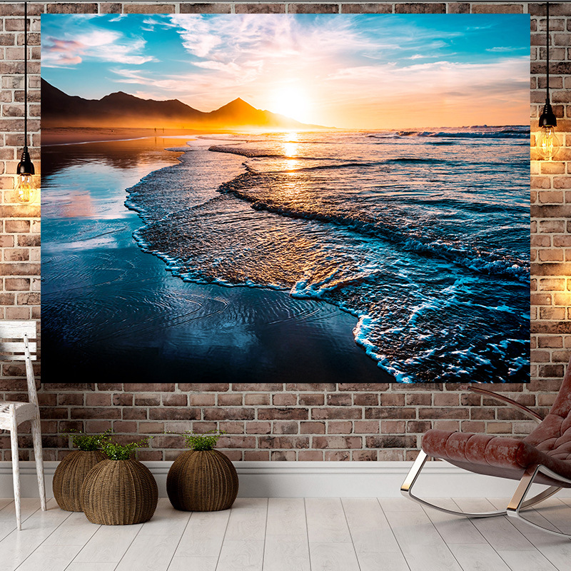 Jayi Multi Pattern Sunset Sea Side Scenery Ocean Background Wall Printing Home Tapestry Wall Hanging Decoration