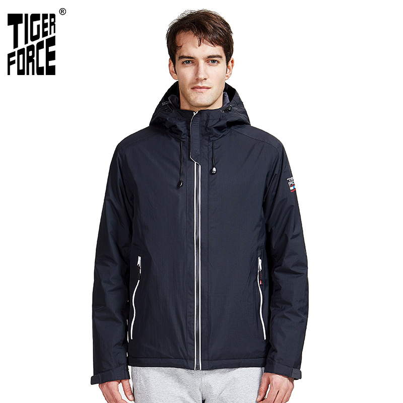 Tiger Force 2020 New Arrival Men Spring Autumn Jacket  High Quality Warm Streetwear Sport Solid Color Outwear Hood Clothes 50613