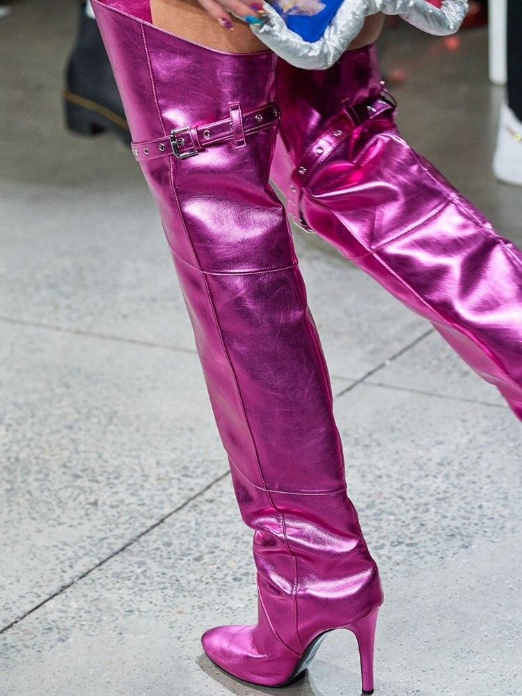 fino coxa alta botas moda ouro metal