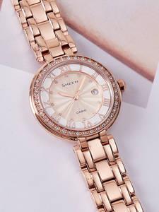 Casio Watch Luxury-Set Swarovski Top-Brand Women Clock Crystal Quartz 50mwaterproof Mujer