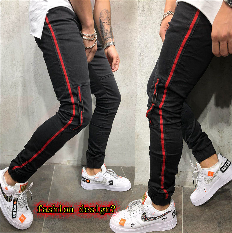 Men's Stretch Jeans Man Stretch Feet Side Webbing Pants Slim Pencil Trousers New Fashion Casual Pant