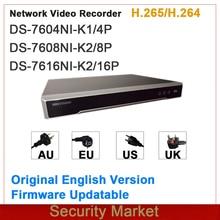 Оригинальная английская версия Hikvision, встроенный сетевой видеорегистратор Plug & Play 4/8/16 каналов, сетевой видеорегистратор DS-7604NI-K1/4P и DS-7608NI-K2/8P ...