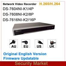 Hikvision original versão inglês nvr incorporado plug & play 4/8/16ch nvr DS-7604NI-K1/4p e DS-7608NI-K2/8p e DS-7616NI-K2/16p