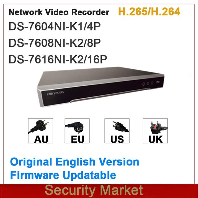 מקורי hikvision אנגלית גרסה NVR Embedded Plug & Play 4/8/16Ch NVR DS 7604NI K1/4P DS 7608NI K2/8P ו DS 7616NI K2/16P