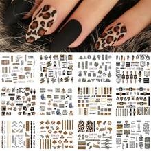 12 pçs leopardo sexy animais adesivos para unhas letra projetos água folha de tatuagem decalques da arte do prego gel polonês slider GLBN1573-1584-1