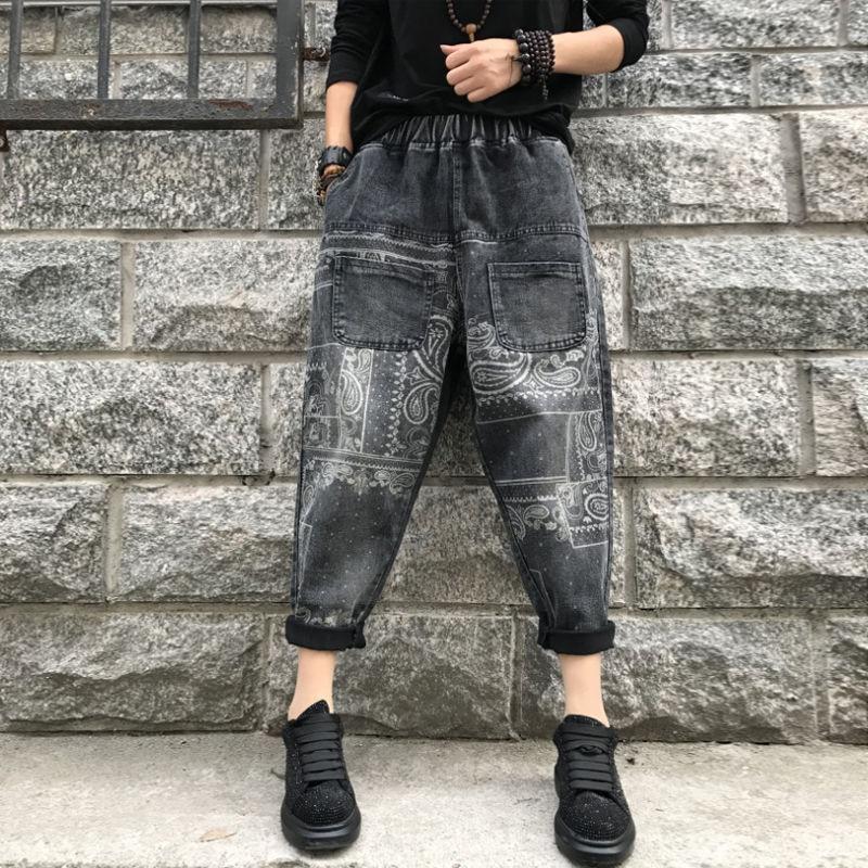 Autumn Arts Style Women Elastic Waist Denim Harem Pants All-matched Casual Double Pocket Vintage Print Jeans Plus Size S466
