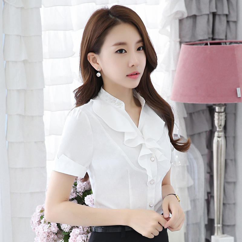 Photo Shoot <font><b>82018</b></font> Short Sleeve Chiffon Shirt 2018 Summer Stand Collar Shirt Large Size Korean-style Slim Fit Beads Tops image