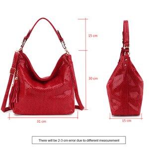 Image 5 - Snake Leather Women Shoulder Bag 2020 Female Serpentine Pattern Hobo Bag Tassel Women Handbag Purse Big Red Tote Ladies Hand Bag