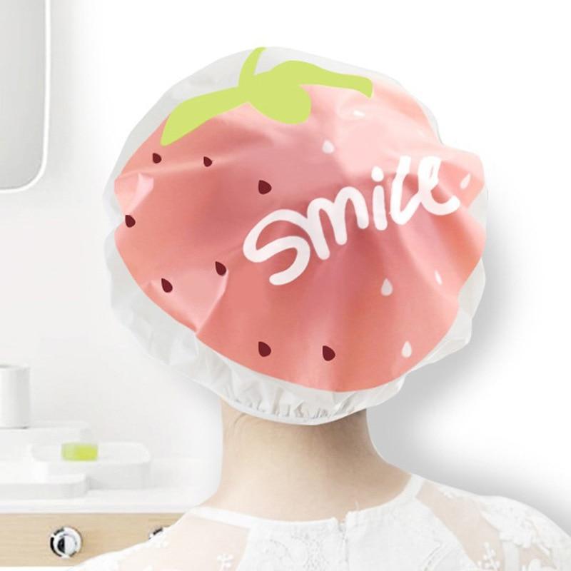 Cute Fruit Cartoon Animal Waterproof Shower Cap Reusable Lace Elastic Band Bath Hat Hat