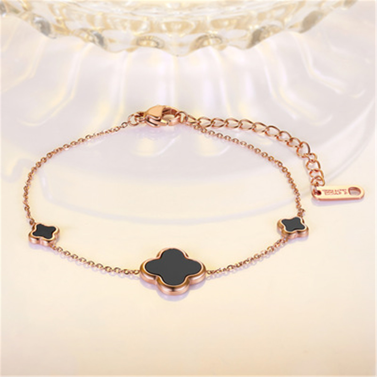 New Korean versatile clover Bracelet titanium steel lady elegant temperament double layer single layer accessories